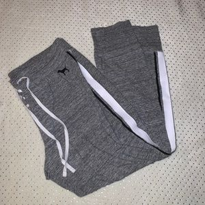 VS PINK Grey Joggers with Stripes